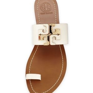 Tory Burch Lowell Leather Logo Sandal, Ivory
